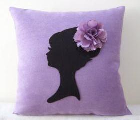 Corner Daisy Purple Flower Pillow