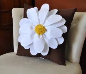 White Daisy Brown Flower Pillow
