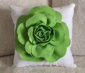 Green Daisy White Flower Pillow