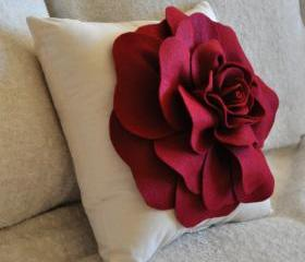 Red Daisy Flower Pillow