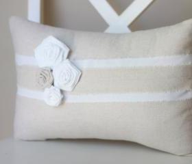 Three White Corner Daisies Flower Pillow