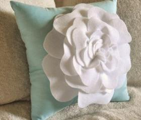 White Daisy Turquoise Flower Pillow