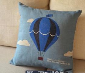 Blue Cartoon Fire Balloon Cusion Pillow