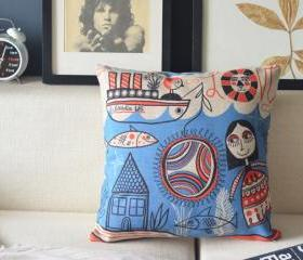 Handmade Sea Fish Linen Cusion Pillow