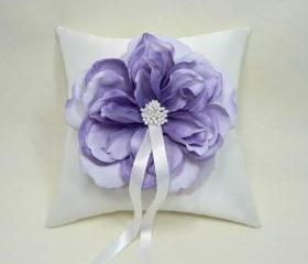 Purple Rose Wedding Flower Pillow