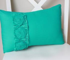 Turquoise Daisy Flower Pillow
