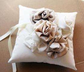 Three Rose Flower Wedding Pillow