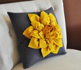 Yellow Daisy Gray Pillow
