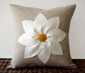 White Daisy Beige Flower Pillow