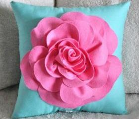 Red Daisy Flower Turquoise Pillow