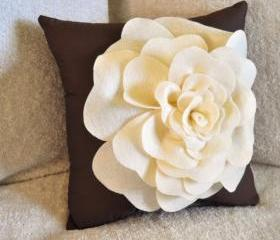 Beige Daisy Flower Pillow