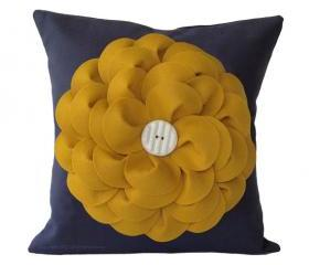 Yellow Daisy Gray Flower Pillow
