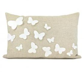 White Bowknots Fabric Pillow