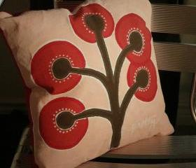 Red Baby Tree Painting Pillow