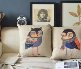 Unique Owl Couple Handmade Pillow 2PCS