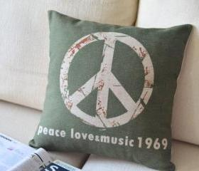 Vintage Peace Logo Linen Pillow