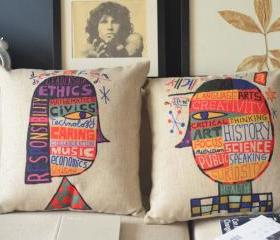 Geek Pop Art Girl and Boy Handmade Linen Pillow 2 PCS
