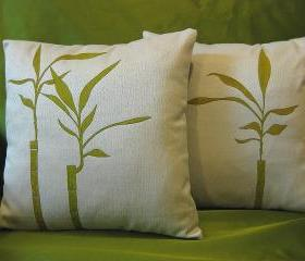 Bamboo Painting Fabric Pillow