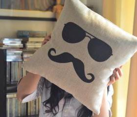 Geek Mustache and Glasses Linen Pillow